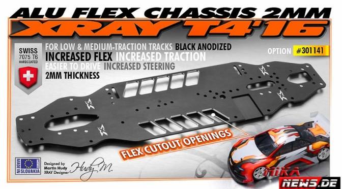 Neues T4'16 Alu Flex Chassis von Teamxray