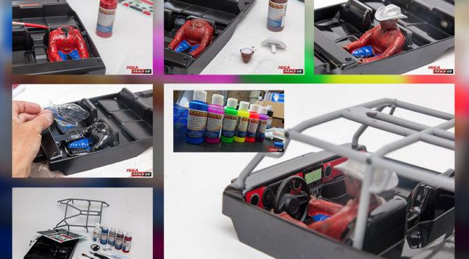 Fahrerfigur, Interieur und Gitterrohrrahmen im SCX10 III mit Hobbynox Farben