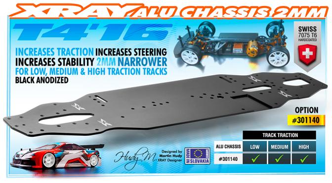 mehr schwarzes Alu für den XRAY T4'16 – Aluminiumchassis 2.0mm