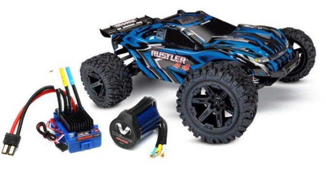 TRAXXAS Rustler 4×4 blau RTR mit Velineon Brushless System