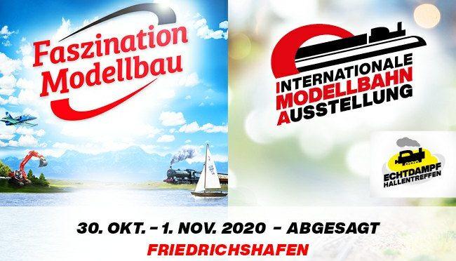 Int. Modellbahn-Ausstellung, Faszination Modellbau und Echtdampf-Hallentreffen 2020 abgesagt!